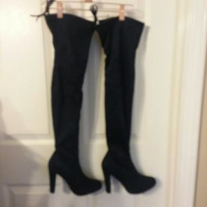 NIB Navy Faux Suede Thigh-High Boots Size 7 M